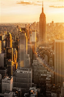 New York, USA, Manhattan, morning, skyscrapers iPhone Wallpaper Preview