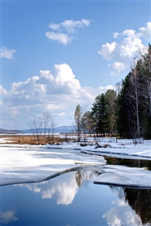 Nature landscape, snow, winter, lake water iPhone Wallpaper Preview