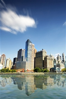 New York City, skyscrapers, buildings, water, blue sky iPhone Wallpaper Preview