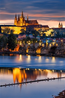 Prague, Czech Republic, evening city, bridge, river Vltava iPhone Wallpaper Preview