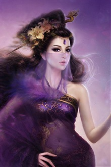 Purple fantasy oriental girl veil iPhone Wallpaper Preview