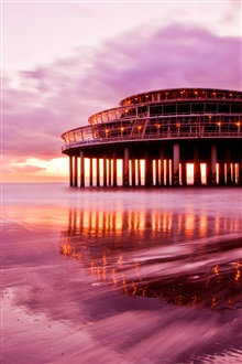 Purple sunset scenery, sea beach sky building iPhone Wallpaper Preview