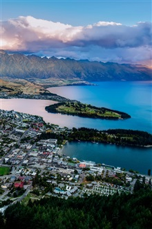Queenstown, New Zealand, Lake Wakatipu, bay, mountains, city iPhone Wallpaper Preview