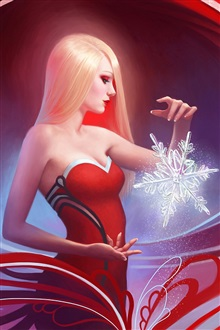 Red dress fantasy girl with snowflakes iPhone Wallpaper Preview