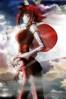Red hair, red dress anime girl iPhone Wallpaper Preview