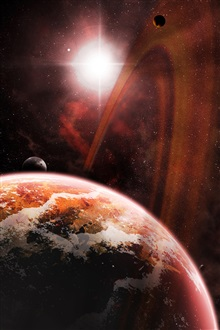 Red space, kosmos planet, stars iPhone Wallpaper Preview