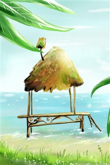Palm beach cabins sea vector painting iPhone Wallpaper Preview