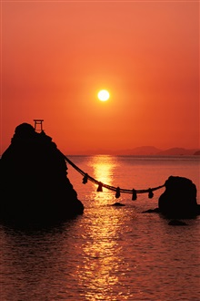 Red sky, sea, sunrise, Japan iPhone Wallpaper Preview