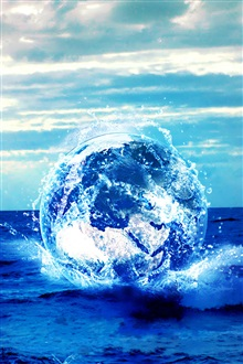 Sea, blue planet, creative pictures iPhone Wallpaper Preview