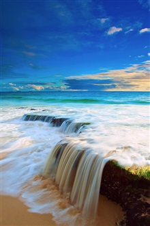 Sea, sky, clouds, beach water flow waterfall iPhone Wallpaper Preview