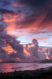 Seaside, sunset sky, clouds iPhone Wallpaper Preview