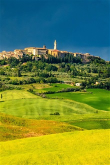 Pienza, Tuscany, Italy, fields, trees, houses, green iPhone Wallpaper Preview