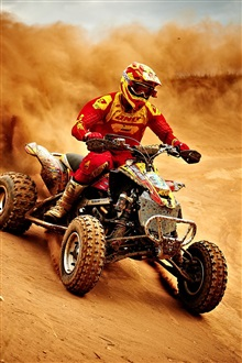 Sports, motorcycle race, dusty iPhone Wallpaper Preview