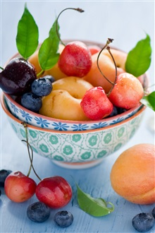 Still life fruit, apricots, cherries, blueberry, berries, leaves iPhone Wallpaper Preview