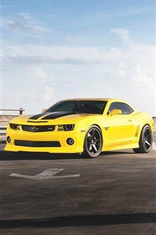 Chevrolet Camaro RS yellow car iPhone Wallpaper Preview