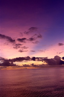 Pacific Ocean, evening, sunset, clouds iPhone Wallpaper Preview