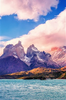 South America, Chile, lake, mountains, clouds, sky iPhone Wallpaper Preview