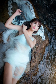 Stones, streams, white dress girl iPhone Wallpaper Preview