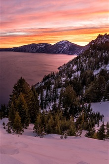 Crater lake, Oregon, USA, lake, sunrise, snow iPhone Wallpaper Preview