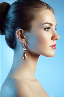 Fashion girl side view, lip, earring iPhone Wallpaper Preview