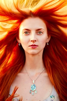 Red hair girl, hair storm iPhone Wallpaper Preview