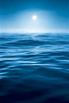 Sea, water, night, blue, moon iPhone Wallpaper Preview