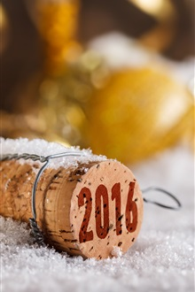 2016 Happy New Year, cork, bokeh iPhone Wallpaper Preview