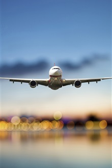 Airplane, passenger, sky, lights, airport iPhone Wallpaper Preview