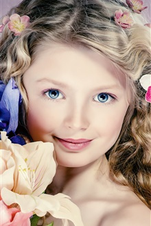 Beautiful little girl, hair, flowers, blue eyes, portrait iPhone Wallpaper Preview