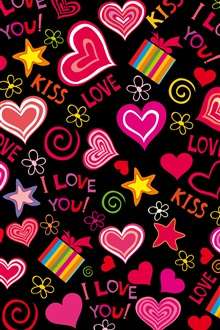 Colorful love hearts, sweet, vector, romantic iPhone Wallpaper Preview