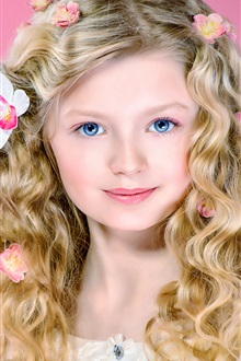 Curly hair girl, portrait, flowers, blue eyes iPhone Wallpaper Preview