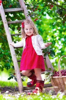 Cute baby, girl, red cherry, garden, summer, staircase iPhone Wallpaper Preview