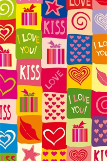 I love you, kiss, romantic, colorful iPhone Wallpaper Preview