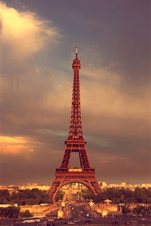 Paris, Eiffel Tower, sky, clouds iPhone Wallpaper Preview