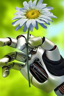 Robot, hand, flower iPhone Wallpaper Preview