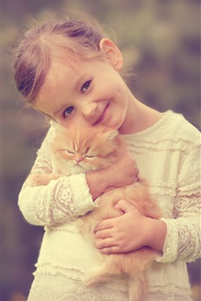 Smile cute girl with kitten iPhone Wallpaper Preview