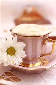 Still life theme, a cup of coffee with flower iPhone Wallpaper Preview