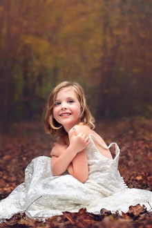 White dress little girl, smile, child, autumn iPhone Wallpaper Preview