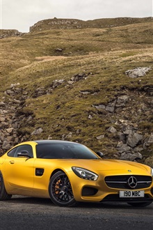 2015 Mercedes-Benz AMG C190 yellow car iPhone Wallpaper Preview