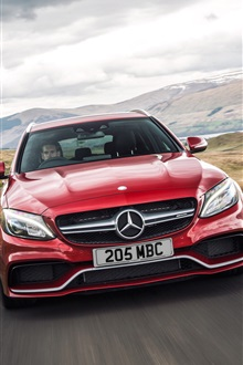 2015 Mercedes-Benz AMG C63 red car iPhone Wallpaper Preview