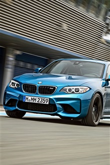 BMW M2 F87 blue car speed iPhone Wallpaper Preview