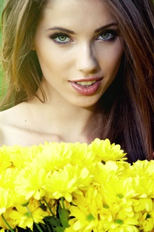 Beautiful girl, yellow flowers, chrysanthemums iPhone Wallpaper Preview