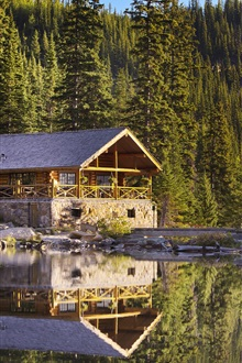 Canada, Banff National Park, Lake Agnes, trees, house iPhone Wallpaper Preview