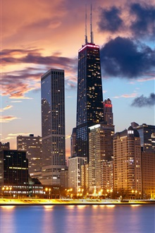 Chicago, USA, waterfront, house, evening, lights iPhone Wallpaper Preview