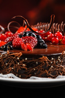 Chocolate cakes, berries, raspberries, dessert iPhone Wallpaper Preview