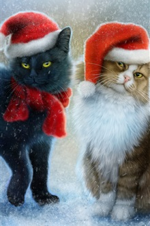 Christmas cats, snow, scarf, hats iPhone Wallpaper Preview