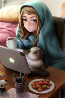 Cute anime girl use laptop, cat, room iPhone Wallpaper Preview