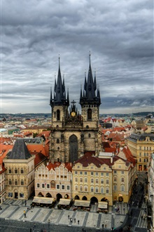 Czech Republic, Prague, city, Old Town Square, buildings iPhone Wallpaper Preview