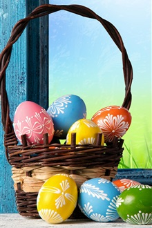 Happy Easter, colorful eggs, basket, spring iPhone Wallpaper Preview