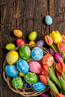 Happy Easter, colorful eggs, wood, tulips flowers, spring iPhone Wallpaper Preview